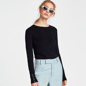 NWT Zara Dark Gray Pearl Cuffed Crew Neck Sweater